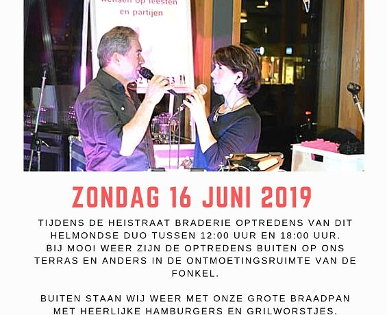 Optreden Harrie & Lenny zondag 16 juni 2019 in De Fonkel tussen 12:00 uur en 18:00 uur.