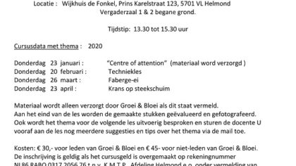 Groei & Bloei bloemschikcursus 2020 in De Fonkel