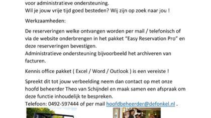 Vacature vrijwilliger / ster voor administratieve ondersteuning in De Fonkel.