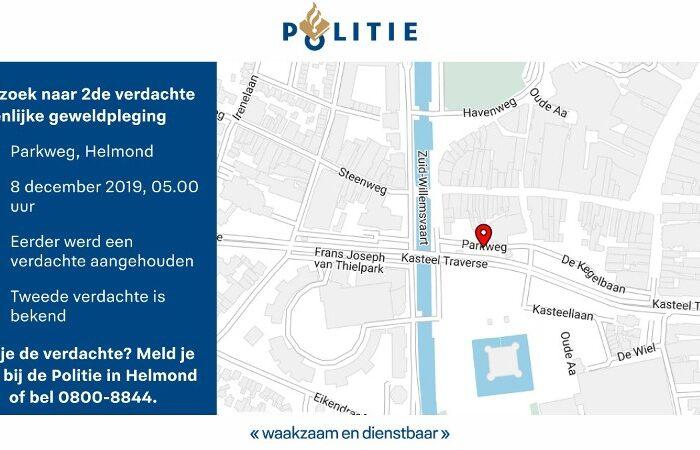 Zie je de 2de verdachte van de geweldpleging in Helmond. Meld je!