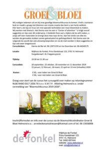 Groei & Bloei bloemschikcursus in De Fonkel Helmond @ Wijkhuis de Fonkel