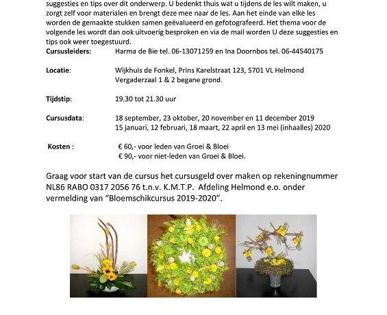 Groei & Bloei bloemschikcursus in De Fonkel Helmond