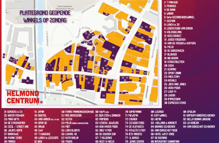Welke winkels in Helmond-Centrum zijn elke zondag geopend!
