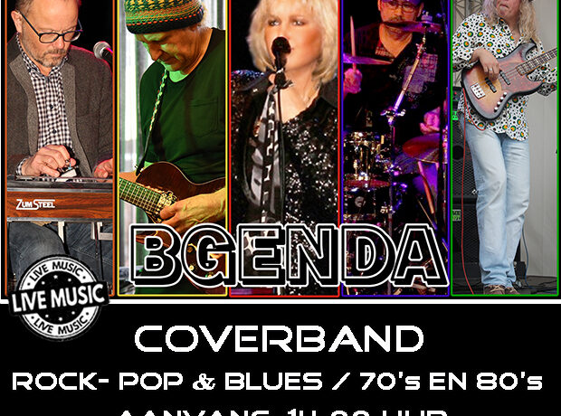 Bgenda Coverband zondag 15 maart 14:00 uur.