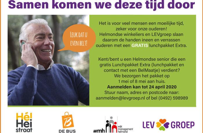 Eenzame ouderen in Helmond krijgen gratis lunchpakket en belmaatje