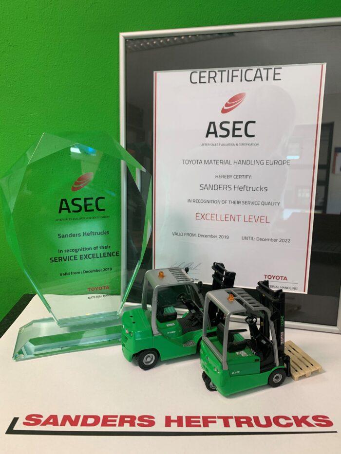 Sanders Heftrucks behaalt hoogste ASEC status: Excellent