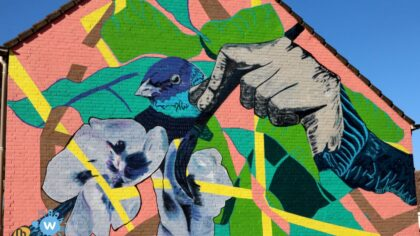 Muurschildering in Jan Stevensstraat, Leonardusbuurt