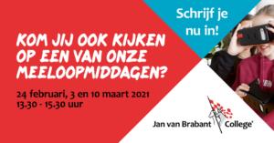 Meeloopmiddagen Jan van Brabant College Molenstraat @ Jan van Brabant College Molenstraat | Helmond | Noord-Brabant | Nederland
