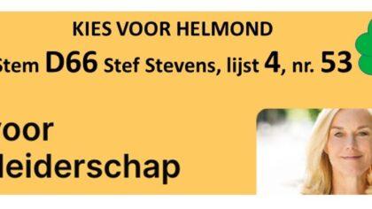 Kies voor Helmond! Stem D66, Stef Stevens, lijst 4, nr 53
