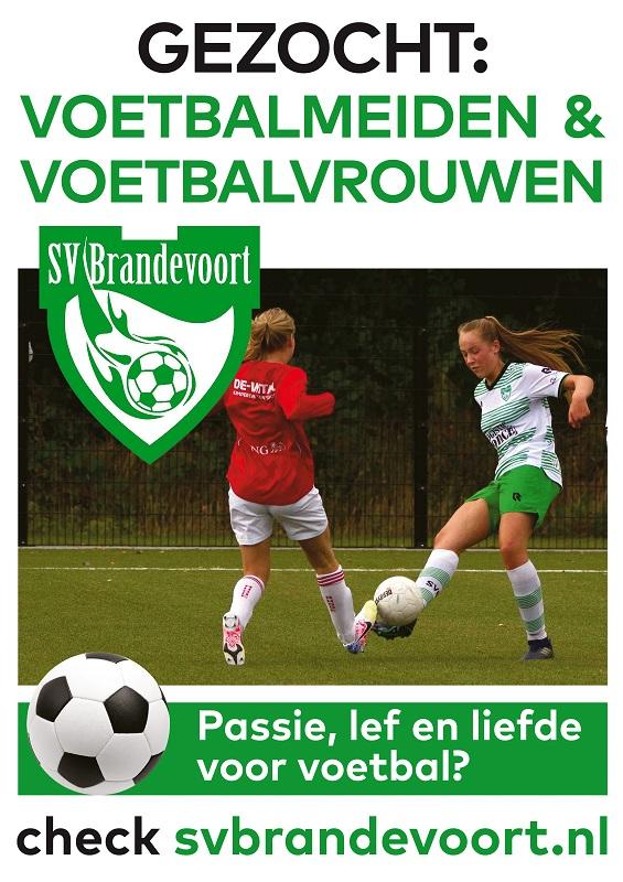 Gezocht: voetbalmeiden en voetbalvrouwen bij SV Brandevoort