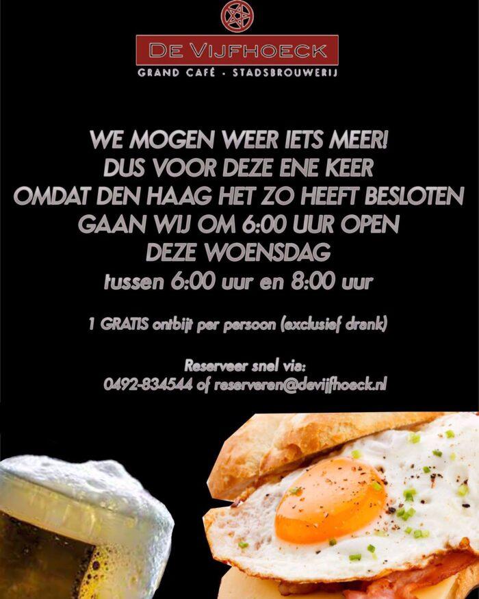 De Vijfhoeck opent op eerste dag met gratis ontbijt