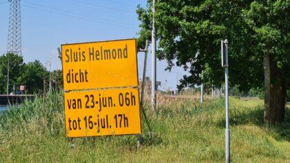 Sluis Helmond opnieuw gesloten voor onderhoud