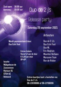 Release party duo De 2 J's @ Wijkgebouw De Zonnesteen