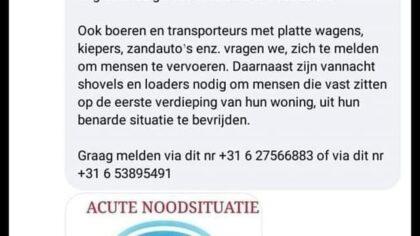 Hulp gevraagd voor acute noodsituatie in Limburg